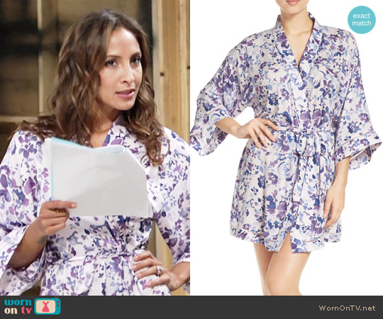 Nordstrom Lingerie Sweet Dreams Print Robe in Purple Tint Watercolor Floral worn by Lily Winters (Christel Khalil) on The Young & the Restless