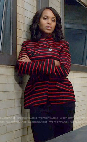 Olivia's red and black striped jacket on Scandal