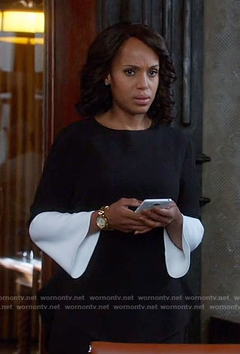 Olivia's black and white bell-sleeve top on Scandal