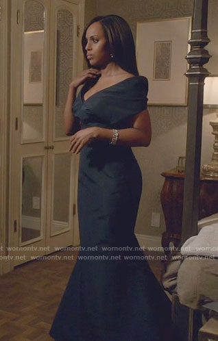 Olivia's navy off-shoulder gown on Scandal
