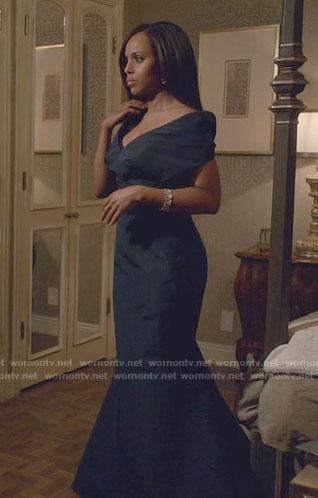 Olivia's navy off-shoulder gown on Scandal