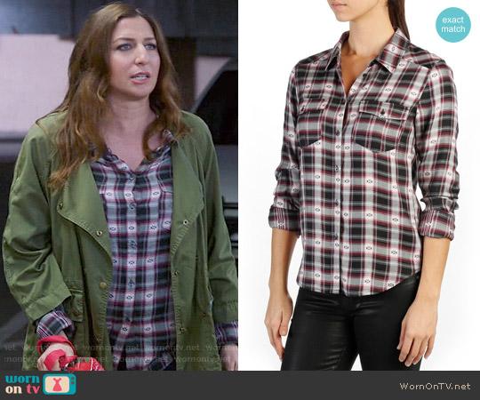 Paige Mya Shirt in Black/Beaujolais worn by Gina Linetti (Chelsea Peretti) on Brooklyn Nine-Nine