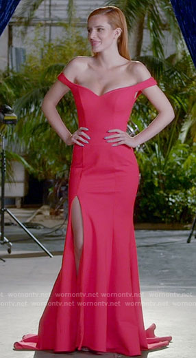 Paige's red off-shoulder gown on Famous in Love