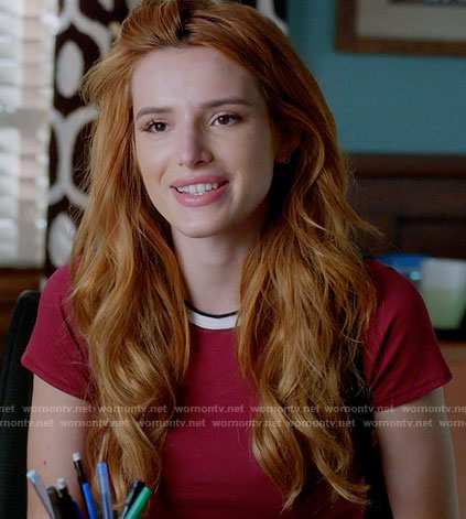 Paige's red tee with contrasting trim on Famous in Love