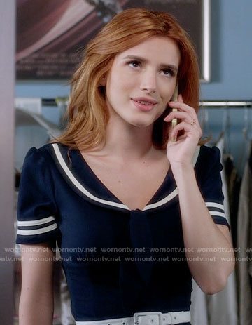 Paige's navy retro dress with white trim on Famous in Love