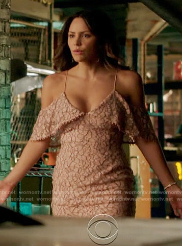 Paige's pink lace open-shoulder dress on Scorpion