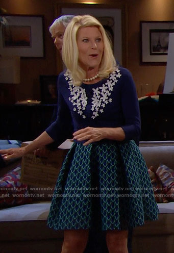 Pam's blue cardigan with white flowers on The Bold and the Beautiful
