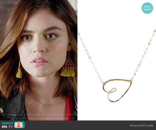 Peggy Li Have a Heart Necklace worn by Aria Montgomery on PLL
