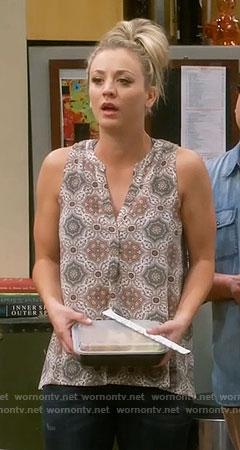 Penny's medallion print sleeveless top on The Big Bang Theory