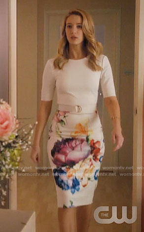 Petra's white floral belted dress on Jane the Virgin