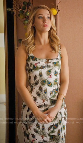 Petra's peacock feather print dress on Jane the Virgin
