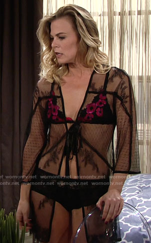 Phyllis's black bralette with pink flowers on The Young and the Restless