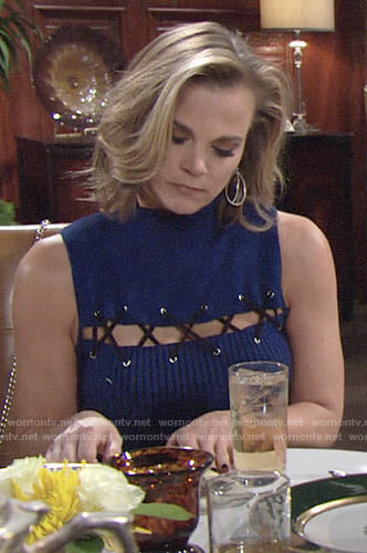 Phyllis's blue striped lace-up dress on The Young and the Restless
