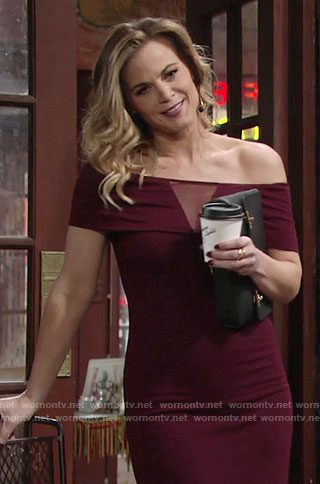 Phyllis's burgundy off-shoulder dress with mesh triangle panel on The Young and the Restless