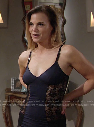 Phyllis's lace panel slip on The Young and the Restless
