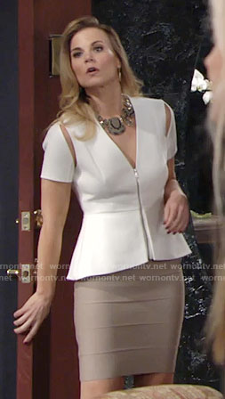 Phyllis's white zip-front peplum top and snakeskin necklace on The Young and the Restless