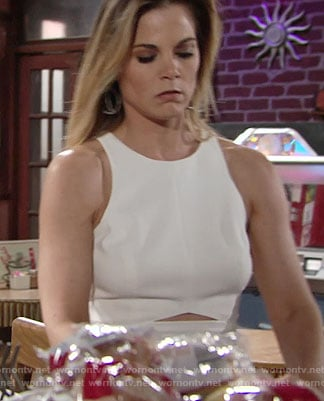 Phyllis's white dress with triangle cutout on The Young and the Restless