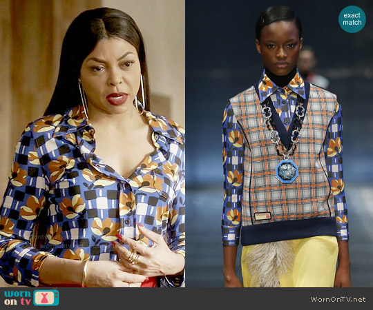 Prada  SS17 Collection Printed Shirt worn by Cookie Lyon (Taraji P. Henson) on Empire