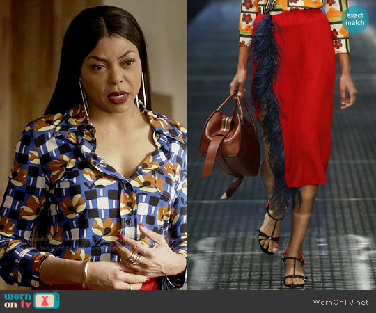 Prada SS17 Collection Red Feather Skirt worn by Cookie Lyon on Empire