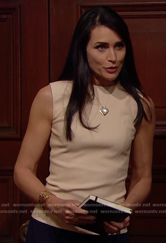 Quinn's beige sleeveless leather top on The Bold and the Beautiful