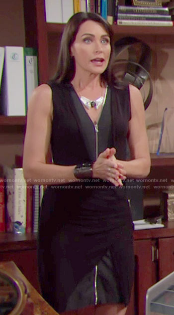 Quinn's black zip front dress on The Bold and the Beautiful