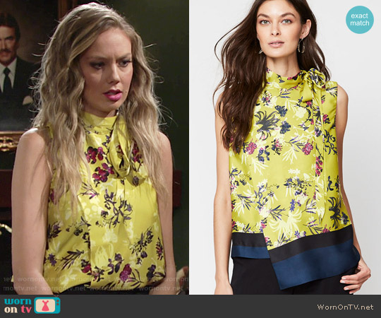 Rachel Roy Side Tie Neck Top in Gold worn by Melissa Ordway on The Young & the Restless