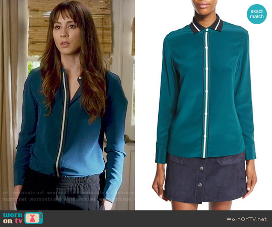 Rag & Bone Nico Shirt in Teal worn by Spencer Hastings (Troian Bellisario) on PLL