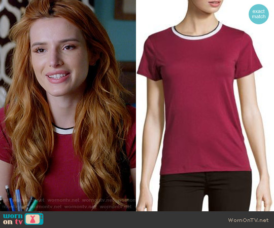 Rag & Bone Rib Base Lined Tee in Plum worn by Bella Thorne on Famous in Love
