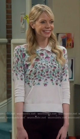 Ramona's white floral sweater on The Big Bang Theory