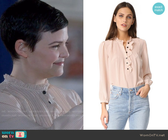 Rebecca Taylor Pin Dot Ruffle Top worn by Ginnifer Goodwin on OUAT