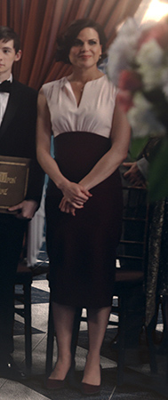 Regina's black and white split-neck dress on Once Upon a Time
