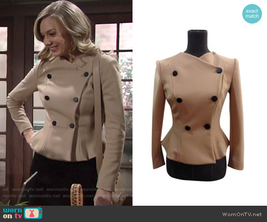 Robert Rodriguez Double Breasted Peplum Blazer worn by Melissa Ordway on The Young & the Restless