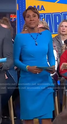 Robin's blue long sleeve sheath dress on Good Morning America