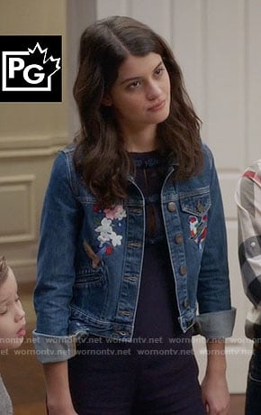 Sabrina's embroidered denim jacket on The Mick