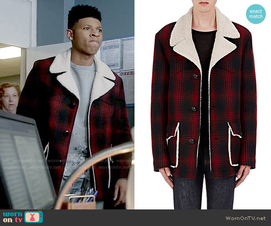 Saint Laurent Faux-Shearling-Lined Plaid Coat worn by Bryshere Y. Gray on Empire