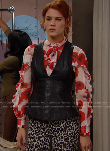 Sally's red floral blouse and leather top on The Bold and the Beautiful