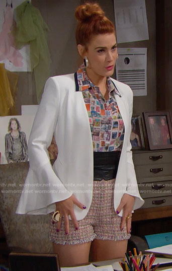 Sally's printed shirt and white jacket on The Bold and the Beautiful