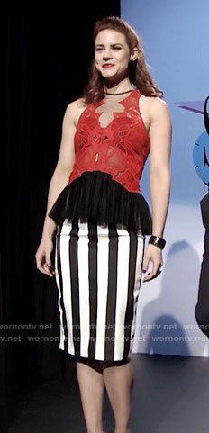 Sally's red lace peplum top and striped skirt on The Bold and the Beautiful