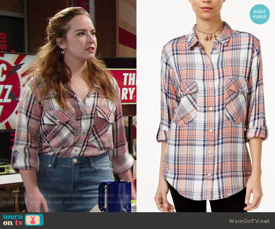 Sanctuary Plaid Boyfriend Shirt in Sebastian Plaid worn by Camryn Grimes on The Young & the Restless