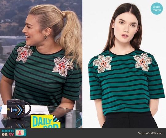 Sandro T-Shirt With Stripes And Flower Patches worn by Carissa Loethen Culiner on E! News
