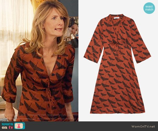 Sandro Birdy Dress worn by Laura Dern on Unbreakable Kimmy Schmidt