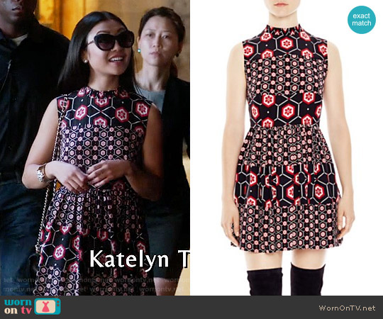 Sandro Honeycomb Printed Silk Dress worn by  Xu YiFei on Famous in Love
