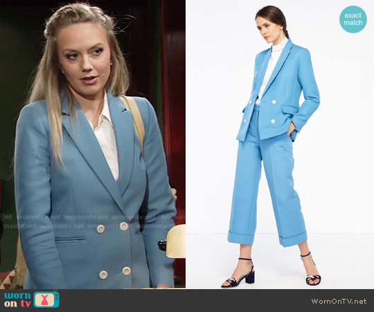 Sandro Jacket With Button Fastening and Wide Leg Tailored Trousers worn by Melissa Ordway on The Young & the Restless