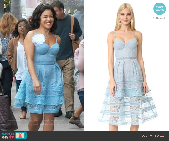 Self Portrait Paisley Midi Dress worn by Gina Rodriguez on Jane the Virgin
