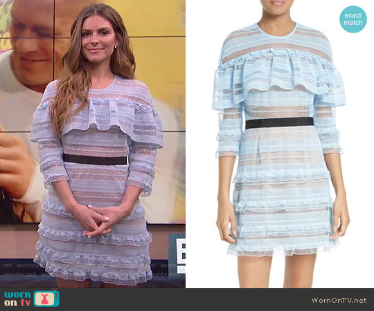 Self Portrait Stripe Grid Lace Ruffle Dress worn by Maria Menounos  on E! News