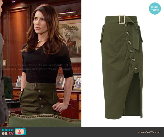Military Button Down Skirt worn by Jacqueline MacInnes Wood on The Bold & the Beautiful