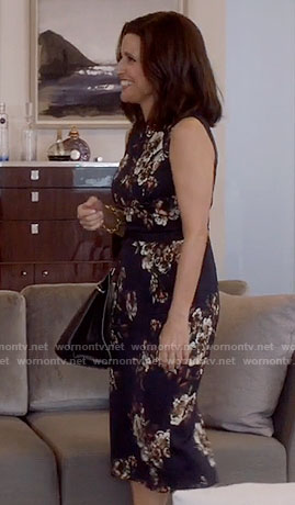 Selina's black floral dress on Veep