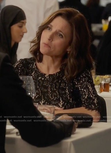 Selina's black lace dress on Veep