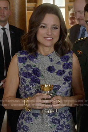 Selina's grey dress with purple flowers on Veep