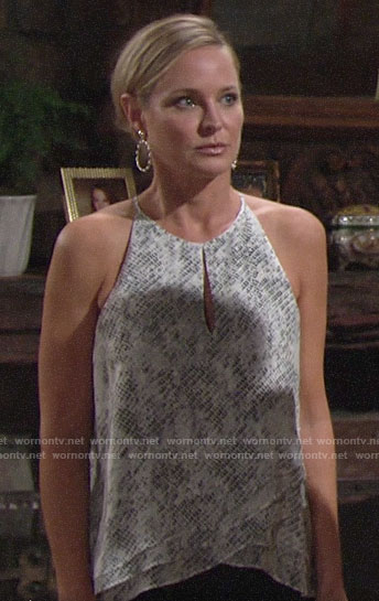 Sharon's layered keyhole top on The Young and the Restless